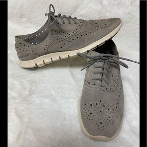 Cole Haan zerogrand grey suede Wingtip Oxford